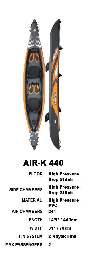 Aqua Marina Tomahawk Air-K 440 High Pressure Drop-Stitch Premium Inflatable Kayak