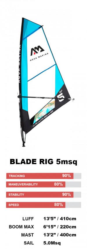 Aqua Marina Blade Windsurf Rig 5M sq Sail