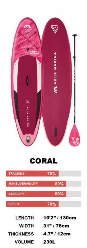 """Aqua Marina Coral Ladies 10'2"""" Inflatable Stand Up Paddleboard Package 2022"""