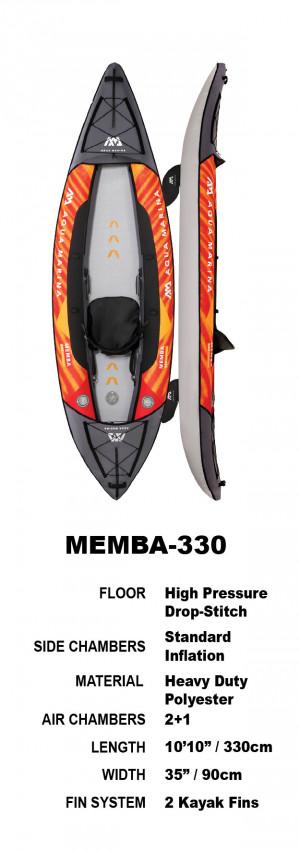 Aqua Marina Memba 330 Drop-Stitch Fusion Inflatable Kayak Package 2022