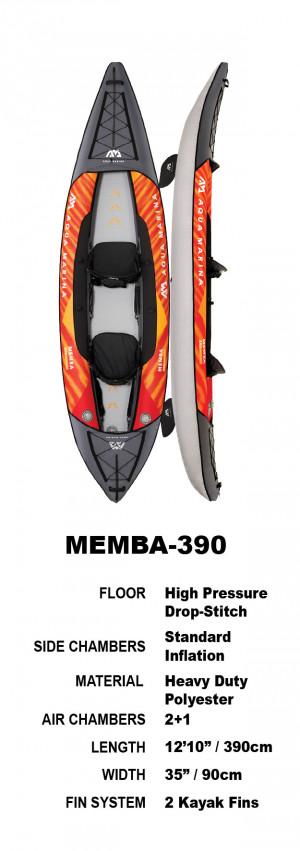 Aqua Marina Memba 390 Drop-Stitch Fusion Inflatable Kayak Package 2022